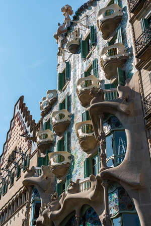 BARCELONA, SPAIN - JUNE 04, 2019: Casa Batllo designed by Antoni Gaudi is one of the main attractions in downtown Barcelona city