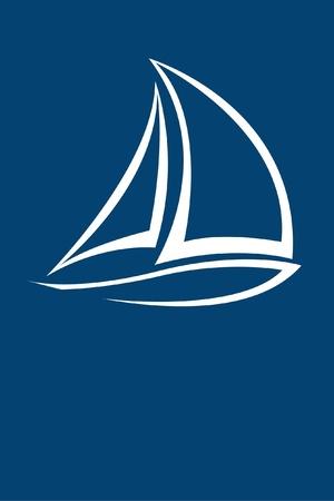 Ilustración de stylized yacht  white on blue background  - Imagen libre de derechos