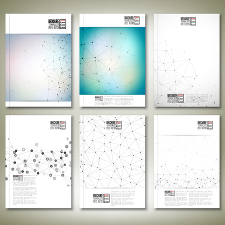Molecule structure, interconnection network. Brochure, flyer or report for business