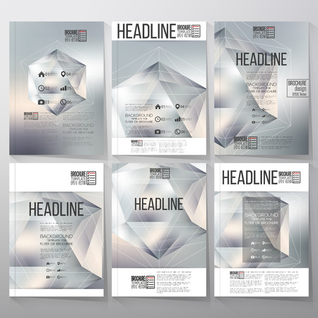 Polygon pattern with the reflection, minimalistic geometric facet crystal on blurred background. Brochure, flyer or report for vector business templates.