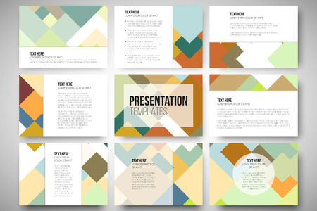 Set of 9 vector templates for presentation slides. Abstract colored background, square design vector illustration.