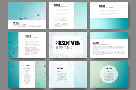 Set of 9 vector templates for presentation slides. Blue vector background with molecule structure