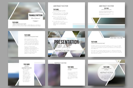 Set of 9 vector templates for presentation slides. Abstract multicolored background of blurred nature landscapes, geometric vector, triangular style illustration.のイラスト素材