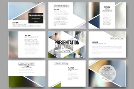 Illustration for Set of 9 vector templates for presentation slides. Abstract multicolored background of blurred nature landscapes, geometric vector, triangular style illustration. - Royalty Free Image