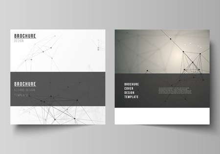 Illustration pour The vector layout of two square format covers design templates for brochure, flyer, magazine. Technology, science, medical concept. Molecule structure, connecting lines and dots. Futuristic background. - image libre de droit