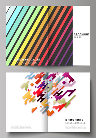 Illustration for The vector illustration of the editable layout of two A4 format modern cover mockups design templates for bifold brochure, magazine, flyer, booklet, annual report. Abstract colorful geometric backgrounds in minimalistic design to choose from - Royalty Free Image