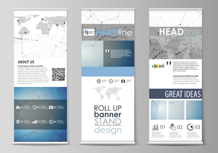 Illustration pour Set of roll up banner stands, flat design templates, abstract geometric style, modern business concept, corporate vertical vector flyers, flag layouts. Geometric blue color background, molecule structure, science concept. Connected lines and dots. - image libre de droit