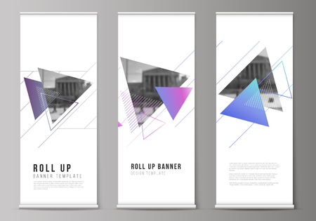 Ilustración de The vector illustration of the editable layout of roll up banner stands, vertical flyers, flags design business templates. Colorful polygonal background with triangles with modern memphis pattern. - Imagen libre de derechos