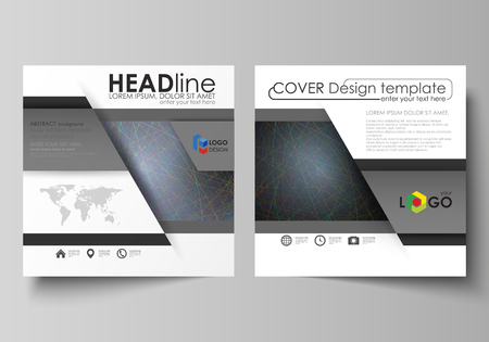 Illustration pour Business templates for square design brochure, magazine, flyer, booklet or annual report. Leaflet cover, abstract flat layout, easy editable vector. Colorful dark background with abstract lines. Bright color chaotic, random, messy curves. Colourful vector decoration. - image libre de droit