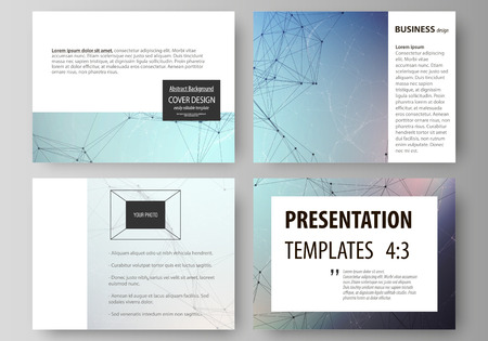 Illustration pour Set of business templates for presentation slides. Easy editable abstract vector layouts in flat design. Compounds lines and dots. Big data visualization in minimal style. Graphic communication background. - image libre de droit
