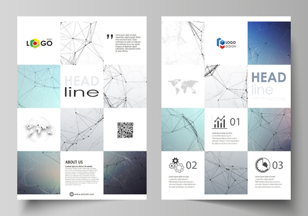 Illustration pour Business templates for brochure, magazine, flyer, booklet or annual report. Cover design template, easy editable vector, abstract flat layout in A4 size. Compounds lines and dots. Big data visualization in minimal style. Graphic communication background. - image libre de droit