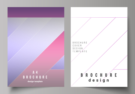 Illustration pour The vector illustration of the editable layout of A4 format modern cover mockups design templates for brochure, magazine, flyer, booklet, annual report. Creative modern cover concept, colorful background. - image libre de droit