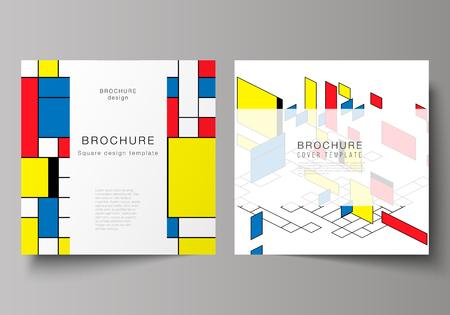 Photo pour The minimal vector layout of two square format covers design templates for brochure, flyer, magazine. Abstract polygonal background, colorful mosaic pattern, retro bauhaus de stijl design - image libre de droit