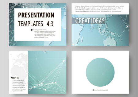 Illustration pour The minimalistic abstract vector illustration of the editable layout of the presentation slides design business templates. Chemistry pattern, connecting lines and dots. Medical concept - image libre de droit