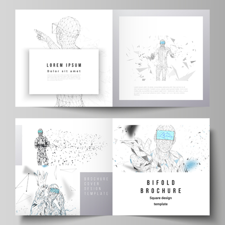 Illustration pour The vector illustration of the editable layout of two covers templates for square design bifold brochure, magazine, flyer. Man with glasses of virtual reality. Abstract vr, future technology concept - image libre de droit