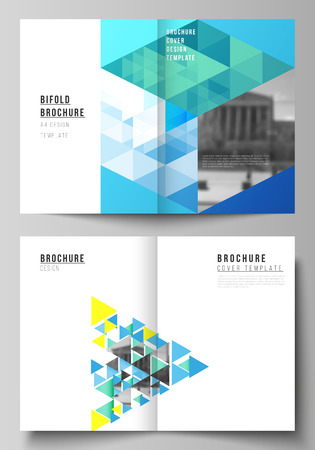 Illustration for The vector layout of two A4 format cover mockups design templates for bifold brochure, magazine, flyer, booklet, annual report. Blue color polygonal background with triangles, colorful mosaic pattern. - Royalty Free Image