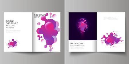 Ilustración de The vector layout of two A4 format modern cover mockups design templates for bifold brochure, flyer, booklet, report. Black background with fluid gradient, liquid pink colored geometric element. - Imagen libre de derechos