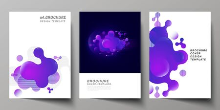 Illustration for The vector layout of A4 format modern cover mockups design templates for brochure, magazine, flyer, booklet, annual report. Black background with fluid gradient, liquid blue colored geometric element. - Royalty Free Image