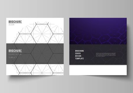 Illustration pour Vector layout of two square format covers design templates for brochure, flyer. Digital technology and big data concept with hexagons, connecting dots and lines, polygonal science medical background - image libre de droit