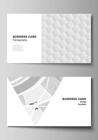 Illustration pour The minimalistic abstract vector illustration layout of two creative business cards design templates. Abstract geometric triangle design background using different triangular style patterns. - image libre de droit