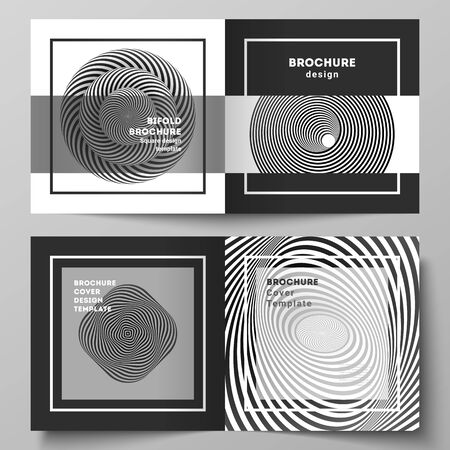 Illustration pour The vector layout of two covers templates for square design bifold brochure, magazine, flyer, booklet. Abstract 3D geometrical background with optical illusion black and white design pattern. - image libre de droit