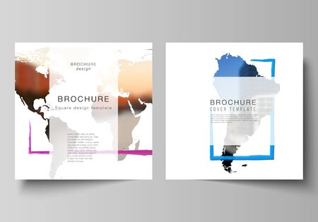 Illustration pour Vector layout of two square format covers templates for brochure, flyer, cover design, book design, brochure cover. Design template in the form of world maps and colored frames, insert your photo. - image libre de droit