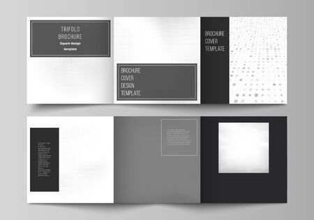 Illustration pour Vector layout of square covers design templates for trifold brochure, flyer, cover design, book design, brochure cover. Halftone effect decoration with dots. Dotted pattern for grunge style decoration. - image libre de droit