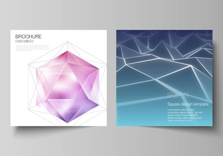 Illustration pour Minimal vector layout of two square format covers design templates for brochure, flyer, magazine. 3d polygonal geometric modern design abstract background. Science or technology vector illustration. - image libre de droit