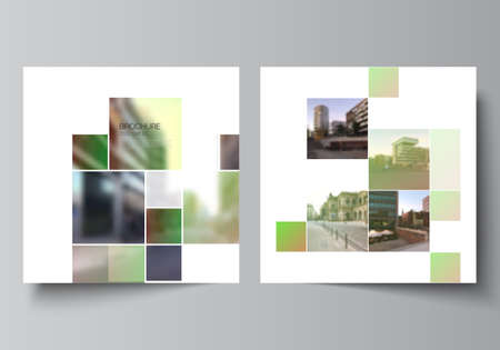 Illustration pour Vector layout of two square format covers design templates for brochure, flyer, magazine, cover design, book design, brochure cover. Abstract project with clipping mask green squares for your photo. - image libre de droit