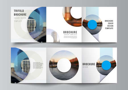 Photo for Vector layout of square covers templates for trifold brochure, flyer, magazine, cover design, book design, brochure cover. Background template with rounds, circles for IT, technology in minimal style. - Royalty Free Image