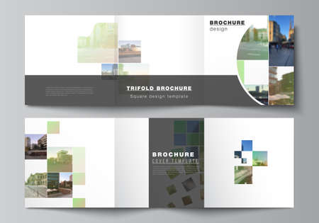 Illustration for Vector layout of square format covers design templates for trifold brochure, flyer, cover design, book design, brochure cover. Abstract project with clipping mask green squares for your photo. - Royalty Free Image