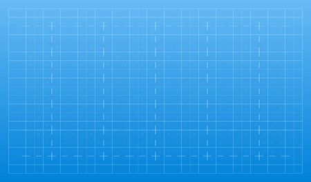 Illustration pour White lines on a blue background. Architectural technical grid of strokes for the plan. Blueprint paper graphic texture. Abstract backdrop pattern - image libre de droit