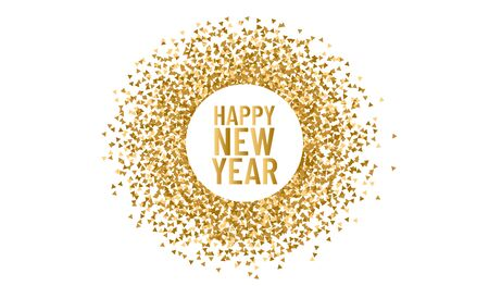 Illustration for Happy new year. Christmas round frame for copy space 2020. Vector triangle sparkle and glitter background - Royalty Free Image