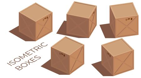 Illustration pour Isometric illustration of a vector cargo 3d brown wooden and cardboard boxes with transportation symbols. Turned to the side - image libre de droit