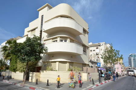 TEL AVIV, ISR - APR 27 2015: White building in Tel Aviv, Israel.Tel Aviv has the largest number of buildings in the Bauhaus/International Style of any city in the world.