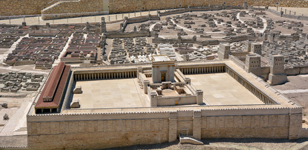 JERUSALEM - MAR 19 2015:Second Temple Model of the ancient in Jerusalem, Israel.Jewish eschatology includes a belief that the Second Temple will in turn be replaced by a future Third Temple.