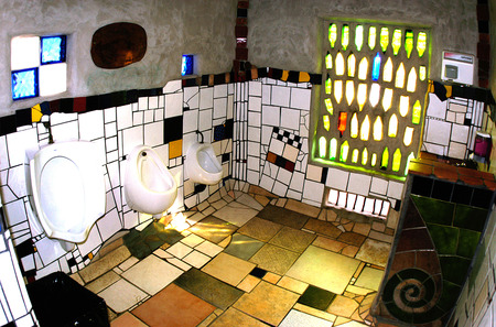 KawaKawa public toilets, Northland, New Zealand by internationally renown artist and architect Frederick Hundertwasser.