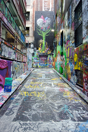 MELBOURNE, AUS - APR 10 2014:Graffiti artwork in Hosier Lane.Hosier lane is a much celebrated landmark in Melbourne mainly due to its sophisticated graffiti urban art.