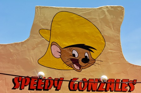 GOLD COAST, AUS -  NOV 06 2014:Speedy Gonzales in Movie World Gold Coast Queensland Australia.It's an animated caricature of the fasts Mouse in all Mexico in the Warner Brothers Looney Tunes cartoons.