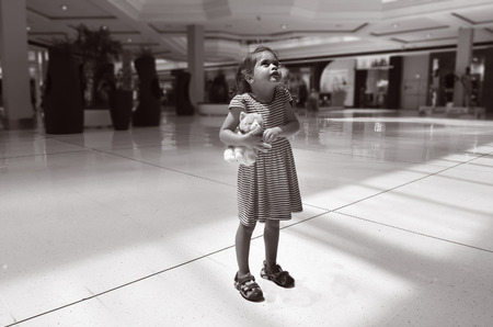 GOLD COAST, AUS - NOV 07 2014:Little girl Talya Ben-Ari age 04 lost in a shopping mall.Each year, 800,000 children are reported missing in America, including some who are lost, run away or abducted.