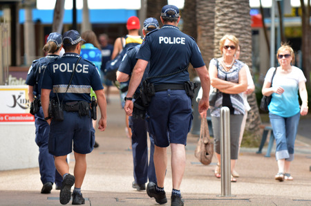 GOLD COAST, AUS - NOV 02 2014:Police officers patrols in Surfers Paradise. Gold Coast police on high terror alert warned to be hyper vigilant and patrol local mosques and critical infrastructure sitesのeditorial素材