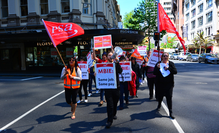 AUCKLAND - NOV 05 2015:Workers protesting for Equal pay for equal work. New Zealand has several employment and human rights laws that prohibit discrimination against women in rates of pay.