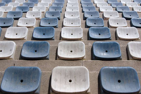 White and blue stadium seats