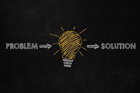 Photo pour A conceptual problem solving design, Ability to solve problem, A big yellow lightbulb indicates an idea to solve problems - image libre de droit