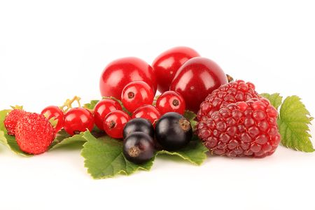 A selection of fresh berries isolated on white.