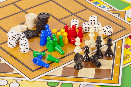 Details of several colorful board games and game pieces.