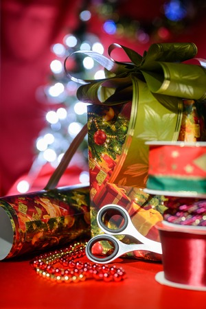 Decorative set of objects related to handcraft and Christmas celebration