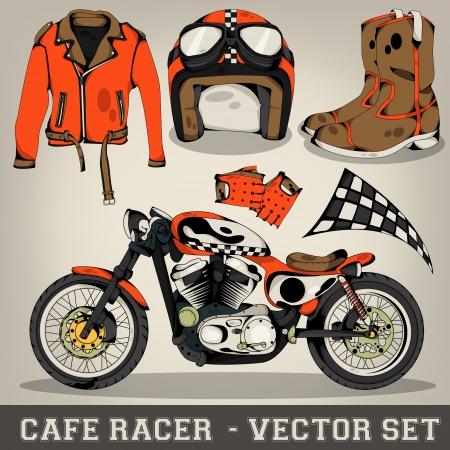 Illustration pour Cafe Racer Vector Set - image libre de droit