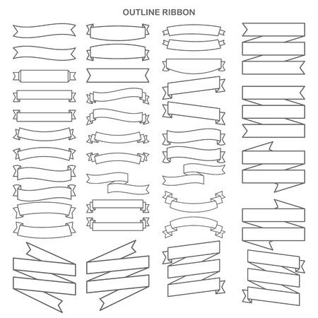 Illustration pour Outline ribbon collection set - image libre de droit