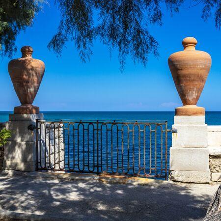 Photo for The municipal villa of Trani. Terrace on the sea. Magnificent view of the blue, turquoise sea. In Puglia, near Bari, Barletta, Andria. - Royalty Free Image